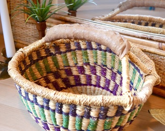 Boho Vintage Market Basket / Green and Purple Woven Bolga Style Basket / Woven Planter