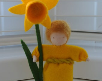 Daffodil flower fairy in Steiner Waldorf style