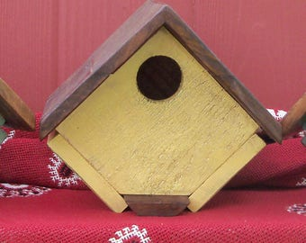 Handmade and Hand Painted Blue Bird House made from Reclaimed Wood
