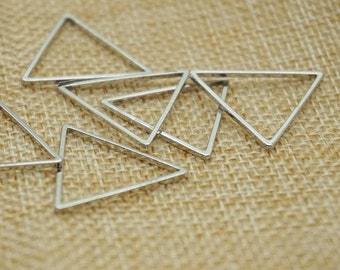 8 pieces silver 24 mm x 24 mm metal geometry triangle pattern Charm , diy jewelry / Earrings / Ear Studs materials, triangler vintage charm