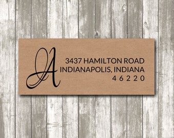 Return address label - Initial Label,  custom- 2 5/8 x 1 inch rectangular, brown kraft label, sticker, wedding announcements - SET OF 30