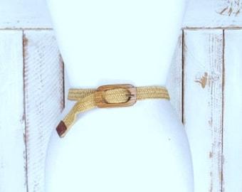 Vintage tan/light brown elastic stretch chord skinny wooden buckle belt/woven jute twine chord elastic belt