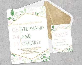 Gold Geometric Wedding Invitation | Modern Floral Wedding Invitation | Botanical Wedding Invitation