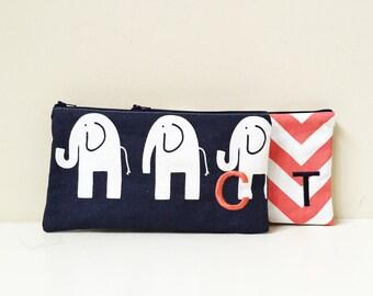 Large Cosmetic bags - Set of 2 - Cosmetic Case - Monogram make up bag - Travel Wallet - Makeup Organizer - Vanity Storage - Large