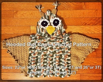 Hooded Owl Poncho or Cape Crochet Pattern PDF - INSTANT DOWNLOAD