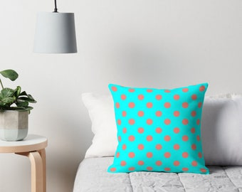Aqua and Coral Pillows, Polka Dot Pillows, Coral Polka Dot Pillow, Polka Dot Cushion, Polka Dots, Polka Dot Pillow Cover, Coral Cushion
