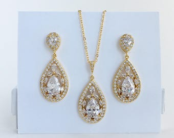 Gold Crystal Jewelry Set Gold Teardrop Jewelry Gold Wedding Jewelry Gold Bridesmaid Jewelry Set Gold Bridal Jewelry Set Gold Jewelry Set