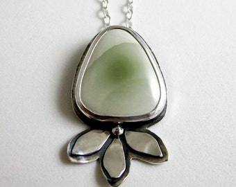 Imperial Jasper and Sterling Silver Necklace - Handmade Light Green Flower