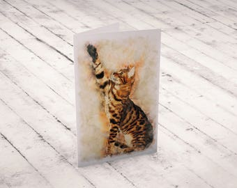 Bengal Cat Postcard Watercolor Animal Cards Feline Greeting Card Watercolor Cat Card Set Watercolor Cat Breed Note Cards Bengal Cat Postcard