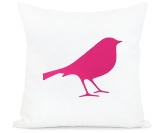 SALE || 16x16 bird pillow cover | Decorative throw pillow case in hot pink and white | Romantic cushion cover for Shabby Chic home decor