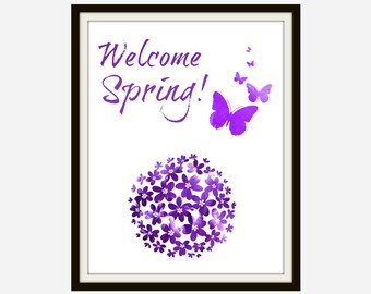 Welcome Spring - Welcome Sign, Welcome Spring Sign, Welcome Spring Printable, Spring Decor, Spring Home Decor, Spring Art, Spring Sign