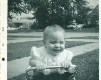 1960 Happy Baby Girl in Walker Playing Outside Vintage Photograph Black White Photo