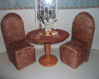 BARBIE Dinning Room Set Wood Table Two Upholstered Chairs Brown Patterned Scaled for Barbie Blythe Monster High Floral Arrangement