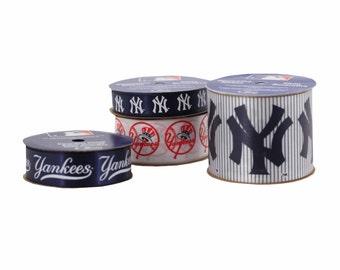 Offray 4-Pack MLB New York Yankees Ribbon, Blue/White/Red