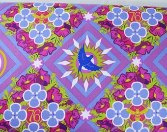 Renewal in Opal by Alison Glass for Andover Fabric Multi Color Floral, Birds and Stars