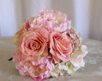 Pink Poenies Bridal Bouquet, Peach Roses and Hydrangea Brides Bouquet, Romantic Peach and Pink Rose Peony Hydrangea Brides Wedding Bouquet