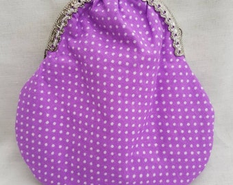 Purple Polka Dot Kiss Clasp Purse/Heart Clasp Coin Purse/Change Purse