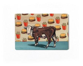 Cow Fridge Magnet, Burger Lovers Magnet, Magnet Of Cow, Burger Fries Magnet, Cow Home Decor, Man Cave Magnets, Funny Fast Food Magnet