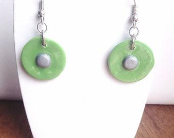 Earrings dangle green and silver