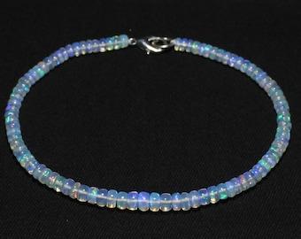 Natural OPAL Bracelet, Ethiopian Opal Beads, 4 - 5 mm size, Smooth Rondelle Beads, Welo Opal Bracelet, Item No. 268
