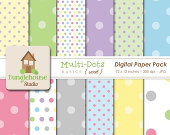 Multi Dot Digital Paper Pack | Digital Scrapbooking Basics | Pastel Polka Dots