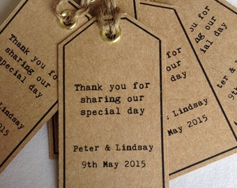 10 x Handmade Thank You/Place Name Luggage Tags Personalised in Typewriter Font