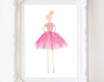 Ballet Art, Ballerina Art, Dancer, Ballerina Watercolor, Ballet Gift , Ballet Teacher Gift, Ballet Nursery, Ballerina Decor, Ballet Print