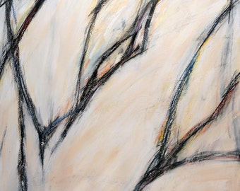 Untitled 12-26-12  two (abstract expressionist painting, black, pastel, white, cream)
