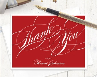 personalized thank you note cards - FANCY THANK YOU - set of 8 folded cards - thanks - personalized stationary set