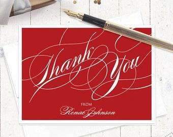 Merci personnalisé Remarque cartes - fantaisie Merci - ensemble de 8 cartes pliées - remerciements - personnalisé ensemble stationnaire