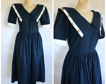 1980s Sailor Dress / Vintage Navy Blue Dress / Modest Blue Dress / Blue Nautical Dress / 80s Day Dress / Vintage 80s Blue Sailor Dress S