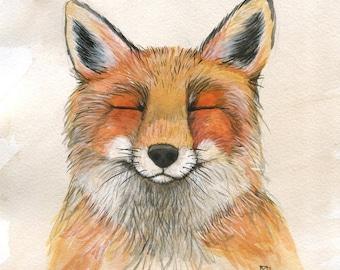 Foxy Friend - 8x10 Art Print - Adorable Grinning Fox - Art by Marcia Furman