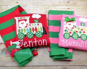Christmas Pajamas, Christmas PJ, Holiday Pajamas, Holiday PJ, Applique, Embroidery, Santa Train Pajama, Santa Train PJ, Girl Boy Pajama