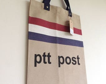PTT postal bag tote, Small tote bag, PTT post bag, XS Tote, Dutch post bag tote, Dutch flag, Dutch tote bag, Dutch flag tote bag, Mail bag