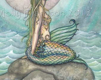 The Pastel Sea Mermaid Fantasy 12 x 16 Watercolor Fine Art Print by Molly Harrison