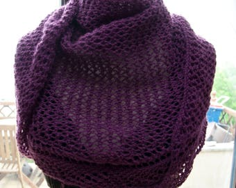 Handknitted Triangular Shawl in Purple
