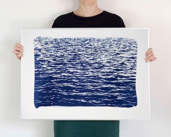 Blue Waves Seascape Cyanotype Print, 50x70 cm