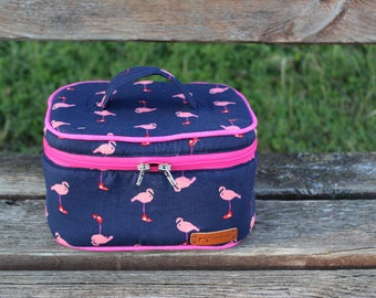 Beautycase with Pink Flamingos