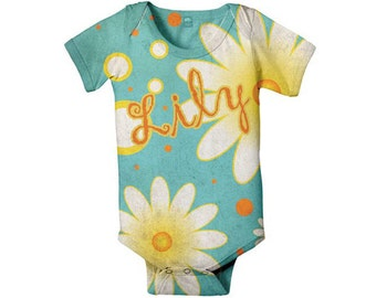 Personalized Baby Bodysuit Aqua Daisy, Custom Girl's Snapsuit