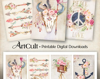 Printable download BOHO CHIC TAGS digital collage sheet shabby flowers, feathers, bull skull, arrows, scrapbooking decoupage paper gift tags
