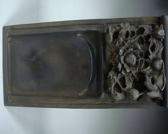Very Heavy Old Chinese Hand Carved Flowers Ink Stone InkSlab Marks