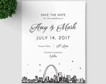 St. Louis Skyline Save the Date SAMPLE ONLY; Saint Louis Missouri city skyline