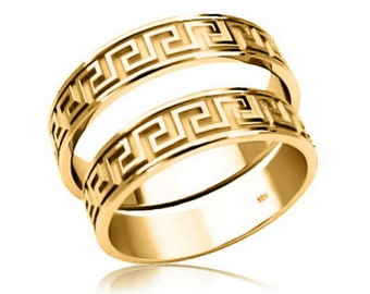 Greek Key 10K Yellow Gold Wedding Bands 4.5mm Rings - Free Shipping