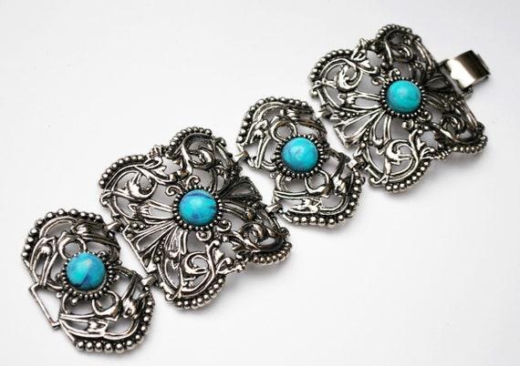 ChunkySilver filigree Turguoise glass  Link Bracelet - Large panel -Blue  Art glass Cabachon