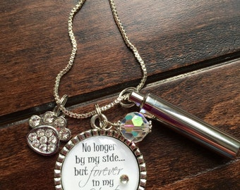 Pet ashes necklace etsy personalized pet cremation necklace no longer by my side but forever in my heart keepsake aloadofball Gallery