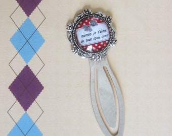 "Mother's day - Gift for MOM: bookmark ""MOM I love my heart"""