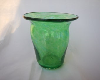 Green hand blown glass vase