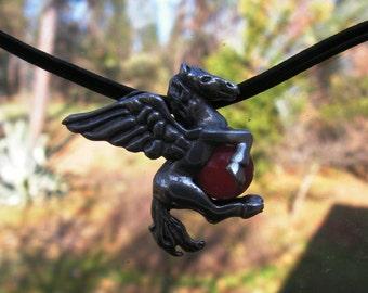 Pendentif en argent sterling Pegasus avec cornaline