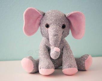 CUSTOM Ellie the Elephant Stuffed Animal - Multiple Sizes- Stuffed Elephant - Toys - Stuffed Animals - Elephant Softie