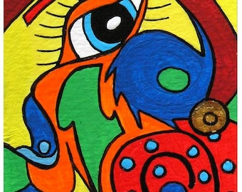 """ACEO Nr. 8  Abstract Flirtation... original painting, 2,5""""x3,5"""", 6,4 x 8,9 cm, acrylic on paper, abstract, head, fantasy"""